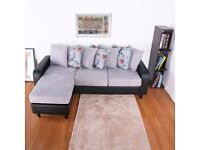 SALE!! Modern and comfortable Corner sofa with deep filled fiber 3 seats and 7 pillows