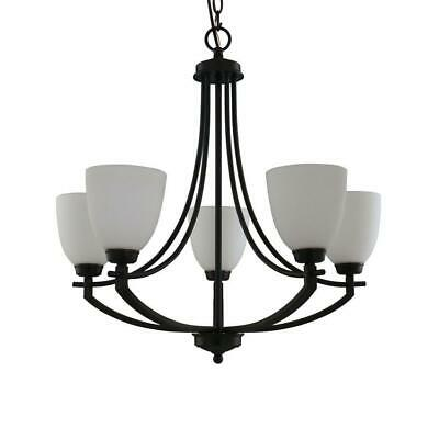 Hampton Bay 5-Light Bronze Chandelier with White Frosted Glass Shades