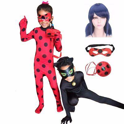 Dame Noir Halloween (Adult Kids Fantasia Lady Cosplay Bug Costume Black Cat Noir Full Set Halloween)