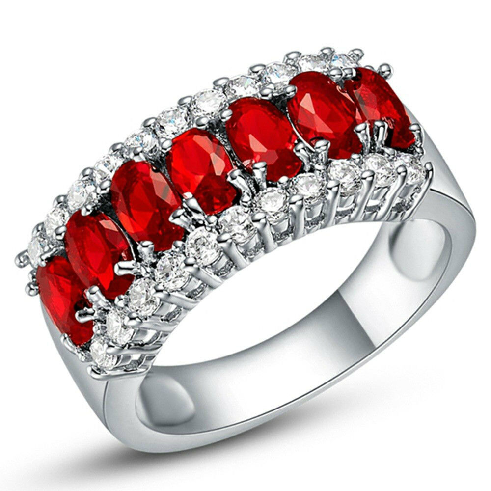 18K White Plated Gold 3 Row Italian-Cut Cz Row Eternity Ring Red Gold Ring CZ, Moissanite & Simulated