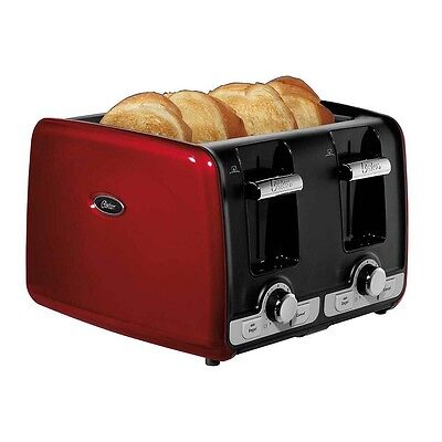 Oster 4-Slice Toaster w/Extra Wide Slots Bagel & Toast Lift, Red | TSSTTRWA4R