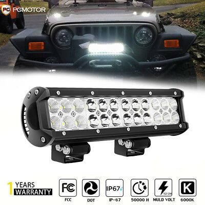 12inch 72w LED Light Bar Work Spot Flood Combo Beam 4wd Car ATV UTV Truck