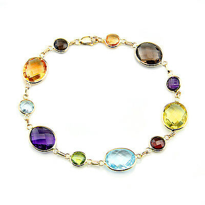 14K Yellow Gold Bracelet With Oval and Round Multi-Color Gemstones 7.5 Inches