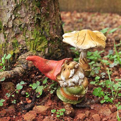 Miniature Garden Gnome with Mushroom Umbrella TO 4265 Fairy Garden Dollhouse