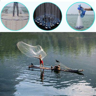 22ft Full Spread Mesh Wire Hand Throw Nylon Cast Fishing Net Spin Bait w/ Sinker