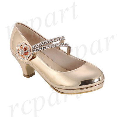 Girls Flower Girl Shoes (New girl's kids formal dress wedding shoes rhinestones flower girl rose)
