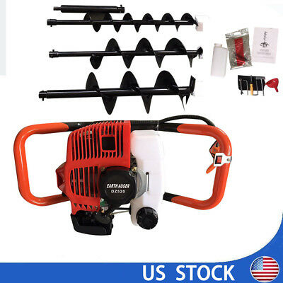 52cc 2.3hp Gas Powered Post Hole Digger With Earth Auger Drill Bit 4 6 8
