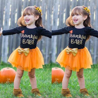 Toddler Kids Baby Girl Letter Bow Tutu Tulle Dress Thanksgiving Outfits - Kids Thanksgiving Outfit
