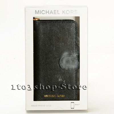 Michael Kors iPhone 7 iPhone 8 Saffiano Leather Folio Action w/Card Pocket - Black