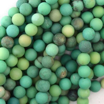 Matte Green Chrysoprase Round Beads Gemstone 15.5