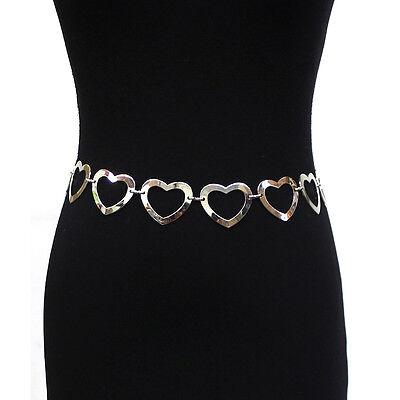 Women Fashion Full Metal Bling Chain Link Hip Heart Buckle Waist Belt S M L XL