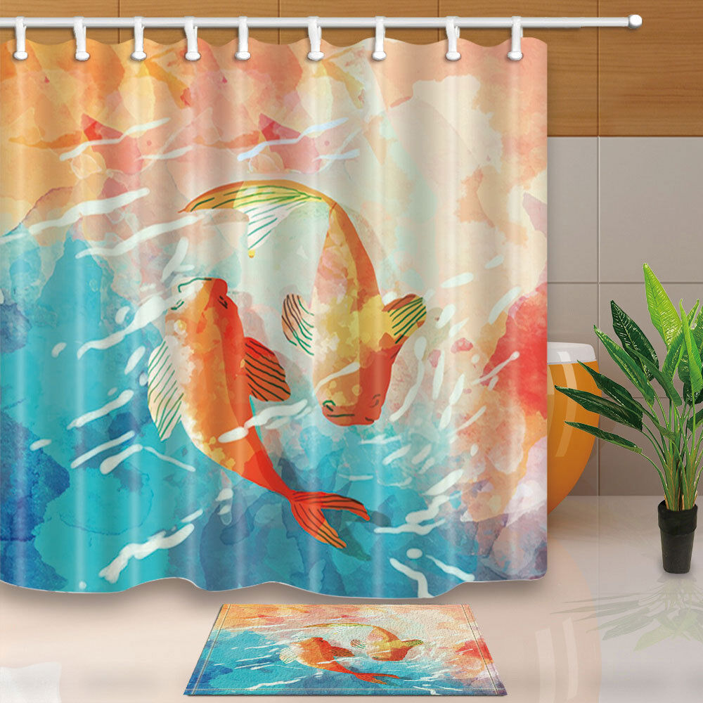 Details About Asian Koi Fish Shower Bathroom Curtain Decor Waterproof Fabric 12hooks 7171in