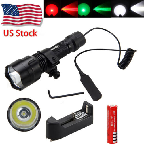 Tactical 5000LM T6 LED Flashlight Torch Shotgun+Remote Pressure Swtch+Mount