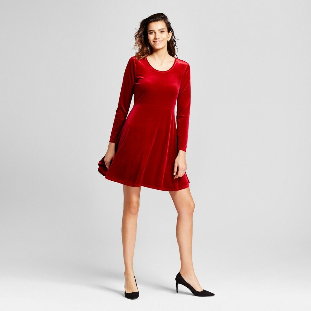 Women's Velvet Scoop Neck Fit & Flare Dress – Alison Andrews Red NWT Clothing, Shoes & Accessories