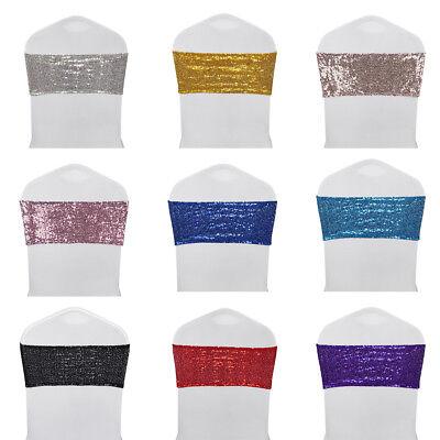- 10/25/50/100 Stretch Spandex Sequins Chair Sash Cover Wedding Party Venue Decor
