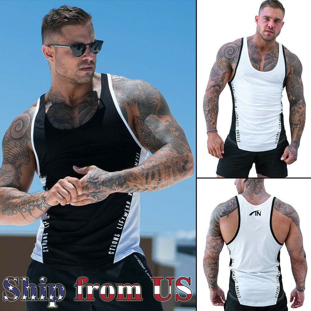 Gym Workout Singlets Sports Training Tank Muscle Bodybuilding Vest Top T-Shirt Clothing, Shoes & Accessories