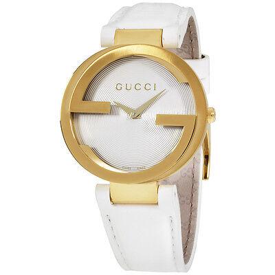 Gucci Interlocking G Latin Grammy White Dial Leather Strap Ladies Watch YA133313