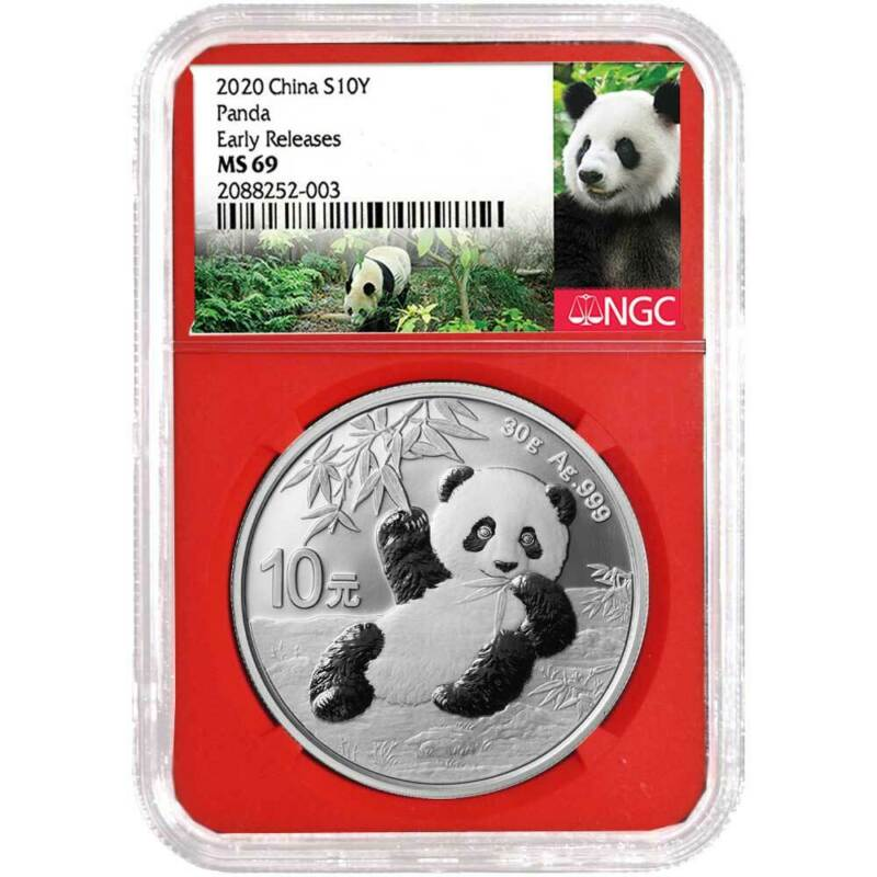 2020 10 Yuan Silver China Panda NGC MS69 Panda ER Label Red Core