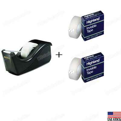 3m Scotch Value Desktop Tape Dispenser With 2 Highland 34 Invisible Tapes Set