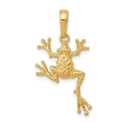14K Yellow Gold Solid Polished Open-Backed Frog (Open Backed Frog Pendant)