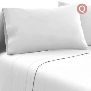Free Delivery: 4 Piece Microfibre Sheet Set Queen – White Homebush Strathfield Area Preview