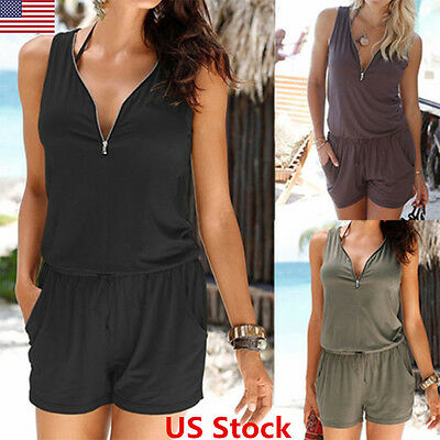 Womens Sleeveless V Neck Bandage Bodycon Jumpsuit Casual Lady Romper Shorts Pant