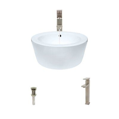 - White Porcelain Vessel Sink Brushed Nickel Drain & Faucet