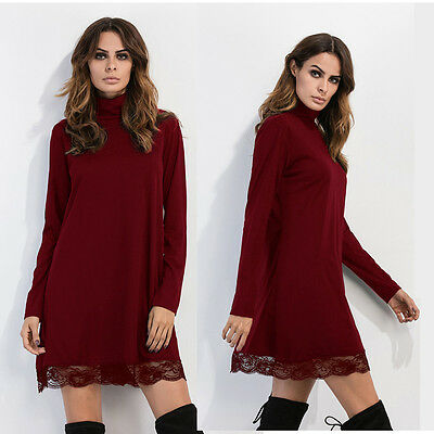 New Women Long Sleeve Lace Loose Turtleneck Evening Mini Sexy Party Dress & Vest