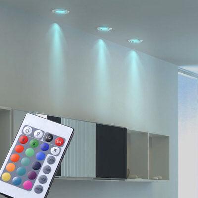 3er Set LED Einbau Spots weiß RGB Fernbedienung Decken Lampen schwenkbar DIMMER