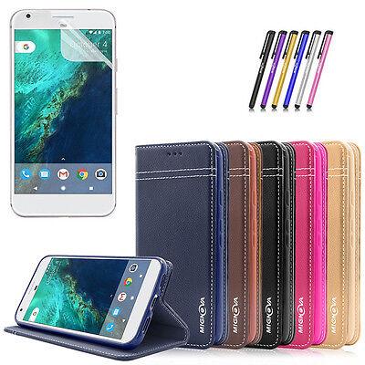 Leather Flip Back Stand Card Holder Cover Skin Case for Google Pixel / Pixel XL Leather Flip Skin Case