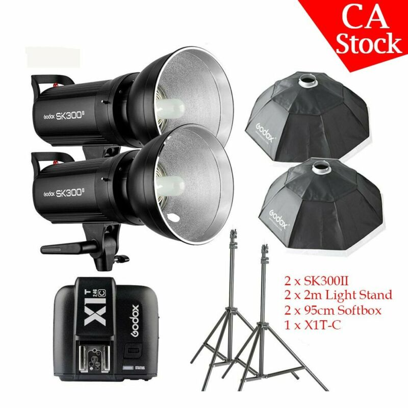 US 2*Godox SK300II 300W 2.4G Flash Strobe X1T-C for Canon softbox light stand