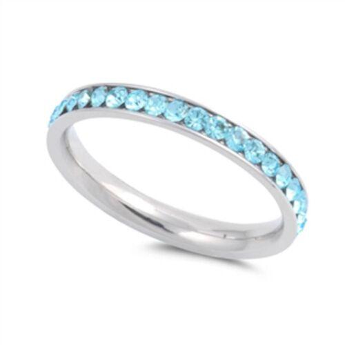 Aquamarine Eternity Band Stainless Steel Ring Sizes 4-10