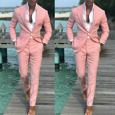 2019 Latest Design Summer Beach Men Pink Suits For Wedding Groom Best Man (Best Suit Design For Groom)