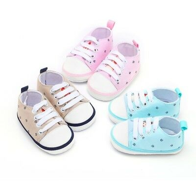 Newborn Toddler Baby Girls Boys Crown Print Sneakers Soft Sole Cotton Shoes