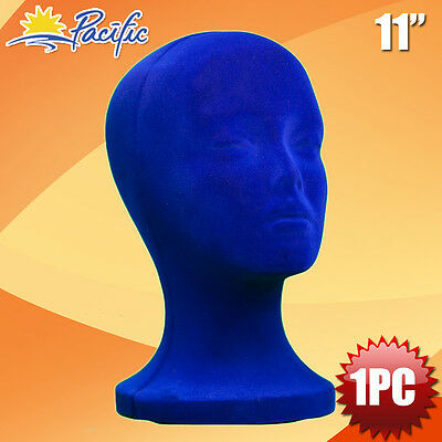 11 Styrofoam Foam Blue Velvet Mannequin Manikin Head Display Wig Hat Glasses