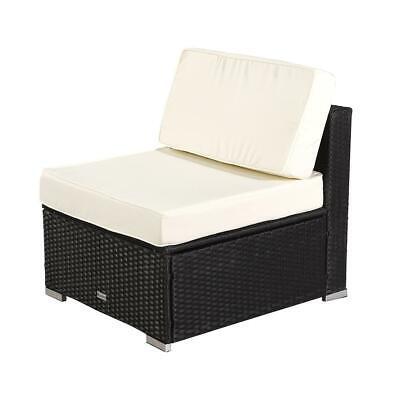 New Indoor/Outdoor Patio Rattan Sofa Set Wicker Armless Furniture Black