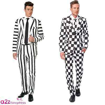 ADULT MENS BLACK WHITE CHECKED STRIPED SUIT HALLOWEEN SUITMEISTER STAG PARTY