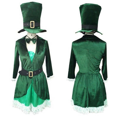 Leprechaun Costume Women (Women St Patrick's Luscious Green Leprechaun Cosplay Costume Party Adult)
