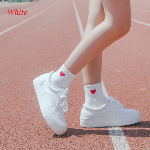 Kawaii Cute Women Heart Pattern Soft Breathable AnkleHigh Casual Cotton Socks