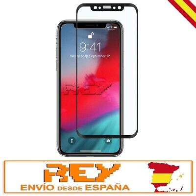 Cristal Templado Completo 3D 5D Compatible IPHONE X CURVO Protector NEGRO p831