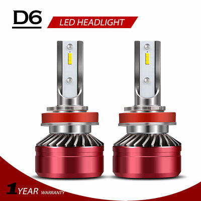 H11 H8 H9 LED Headlights Bulbs 60W 12000LM Kit High/Low Beam 6500K White