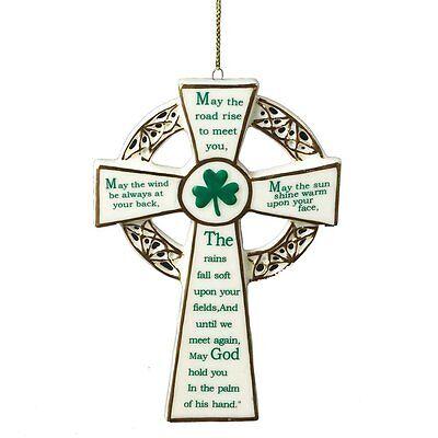 Porcelain IRISH BLESSING CROSS Christmas Ornament, 4.75