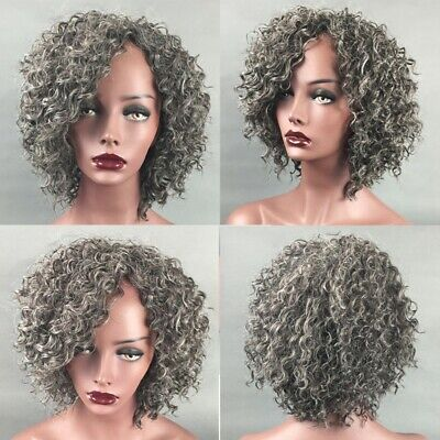Fashion Women Short Wig Silver Kinky Wavy Curly Full Wig Afro Cosplay Party Hair - Silver Afro Wig