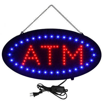 Bright Led Neon Light Oval Atm Sign W Motion Animation Onoff Switch 19x10