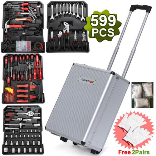 599PC Tool Set Case Mechanics Kit Box Organize Castors Toolbox Trolley US New