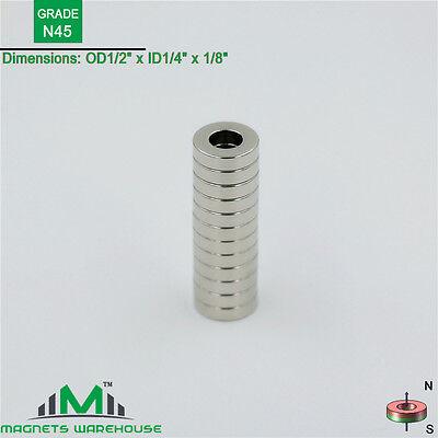 12-count Neodymium N45 Ndfeb Ring Magnets 12od X 14 Id X 18 Thick