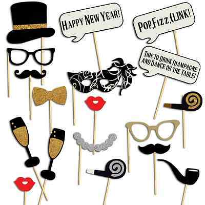 New Year Christmas Photo Booth Props, 18 pcs, NO DIY NEEDED, New Years Eve Party](Party Needs)