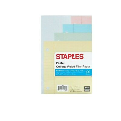 Staples College Ruled Filler Paper 5.5 X 8.5 Pastel 100 Sheetspk 22641