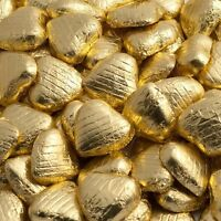 Quality Gold Foiled Solid Milk Chocolate Hearts, - Perfect For Weddings Etc - unbranded - ebay.co.uk