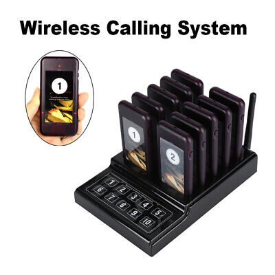 Wireless Queuing Calling System Equipment 1 Transmitter10 Call Coaster Pagers
